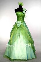 Free Shipping Real Pictures New Arrival A Line One Shoulder Olive Green Organza Prom Dress