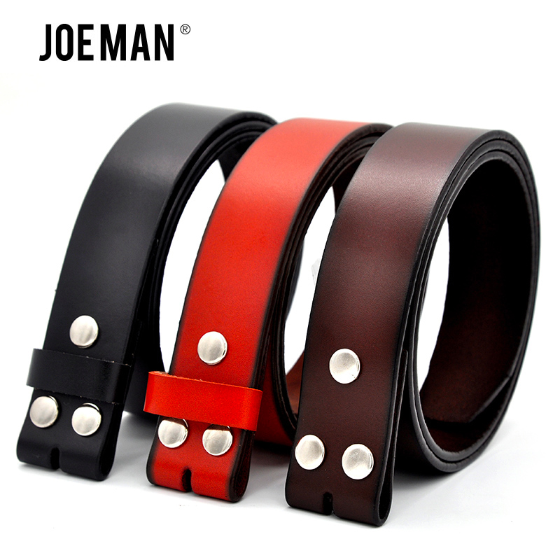 Genuine Leather Belts for Men Strap Without Buckle One Layler Leather Strap For Vintage Jeans Black Dark Brown Yellow Brown