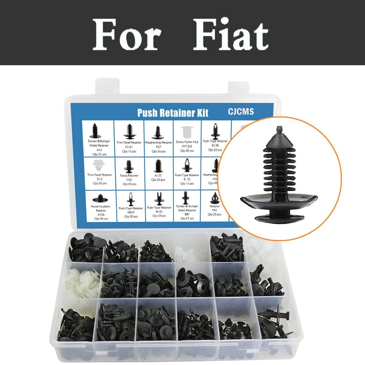 415x Car Fasteners Car Push Rivets Retainer Clips Kit With Retainers Remover For Fiat 500x 600 Albea Barchetta Bravo Croma Linea 300 x disassemble nylon push rivets fasteners for 1 2 2 1mm thick panel