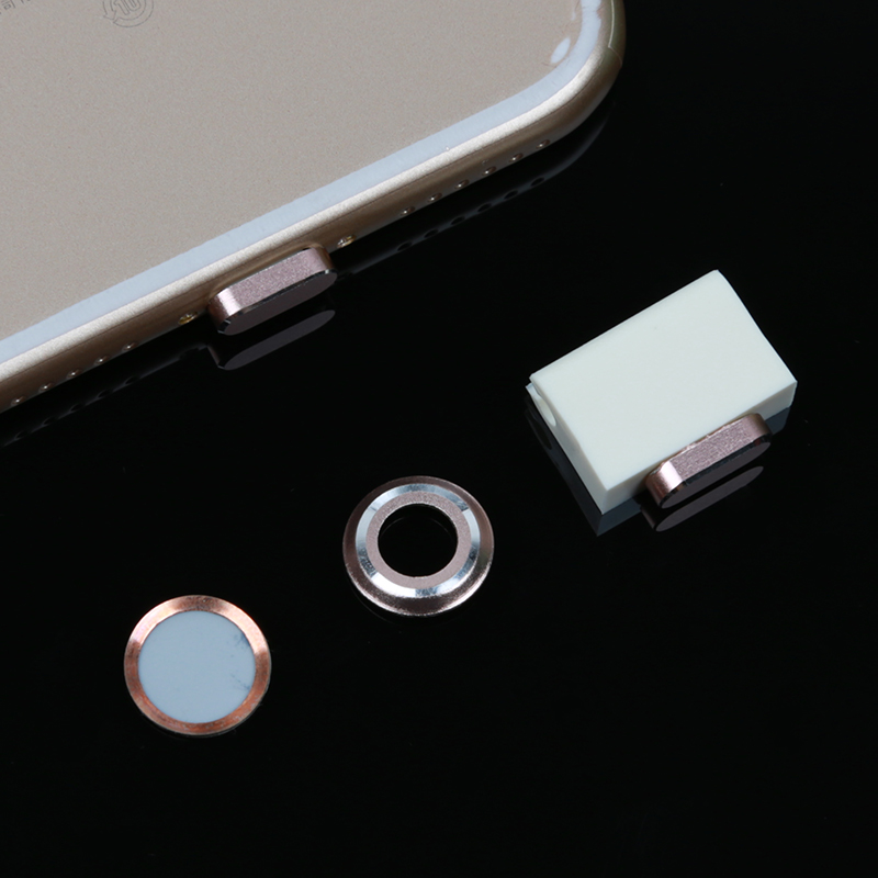 SIANCS 3 In 1 Metal Rear Camera Lens Protector <font><b>Cover</b></font> Case + Home Button Sticker Ring + Dust Plug for iPhone 7 <font><b>7Plus</b></font> 8