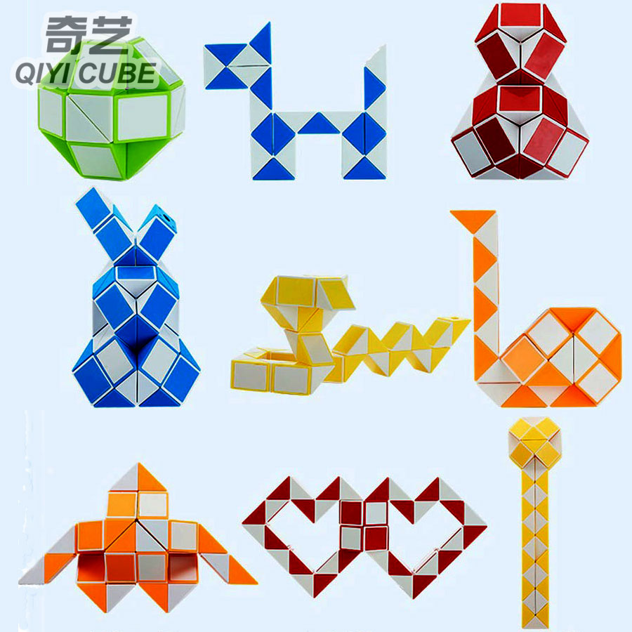 Hot Magic Snake Tutorial QiYi  Magic Ruler 24&36&48&60&72 Blocks Segment DIY Cube Puzzle Creative Educational Toys Game Gift Z