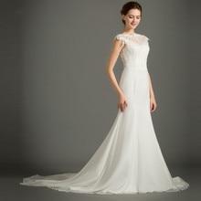 FOLOBE Elegant Chiffon Sheer Neck Lace Wedding Dresses