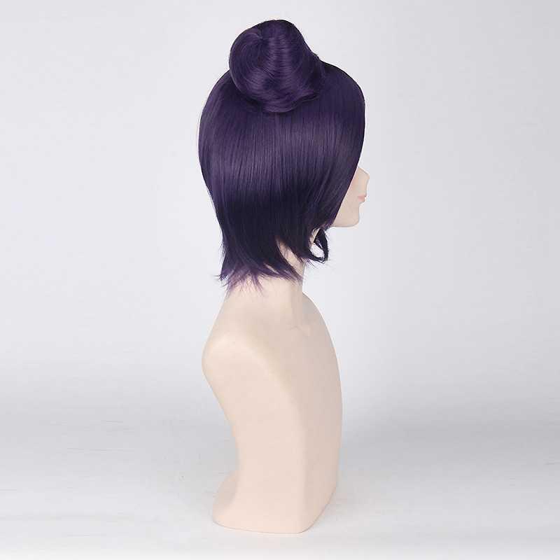 Наруто Конан Косплей парики для женщин аниме вечерние 40 см короткие прямые синтетические волосы с булочкой Рождественский подарок темно-фиолетовый