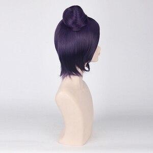 Image 5 - NARUTO Konan Cosplay Perücken für Frauen Anime Party 40 cm Kurze Gerade Synthetische Haar mit EINEM Brötchen Weihnachten Geschenk Dark lila