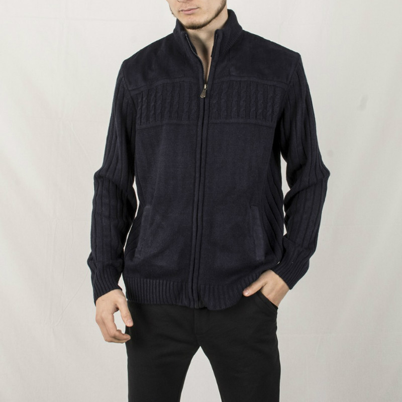 Automne hiver vêtements pour hommes chandail tricoté homme Cardigan Patchwork fourrure col roulé col haut zippé maillot décontracté Zip manteau