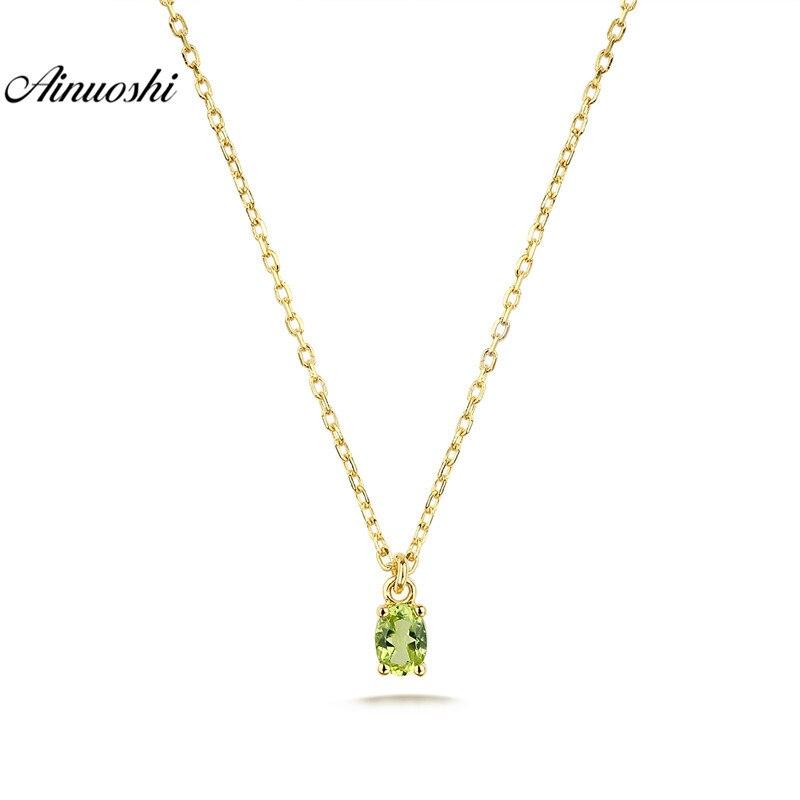 AINUOSHI 18 K or péridot pendentif collier femme Rose/jaune or fiançailles mariage anniversaire chaîne collier bijoux