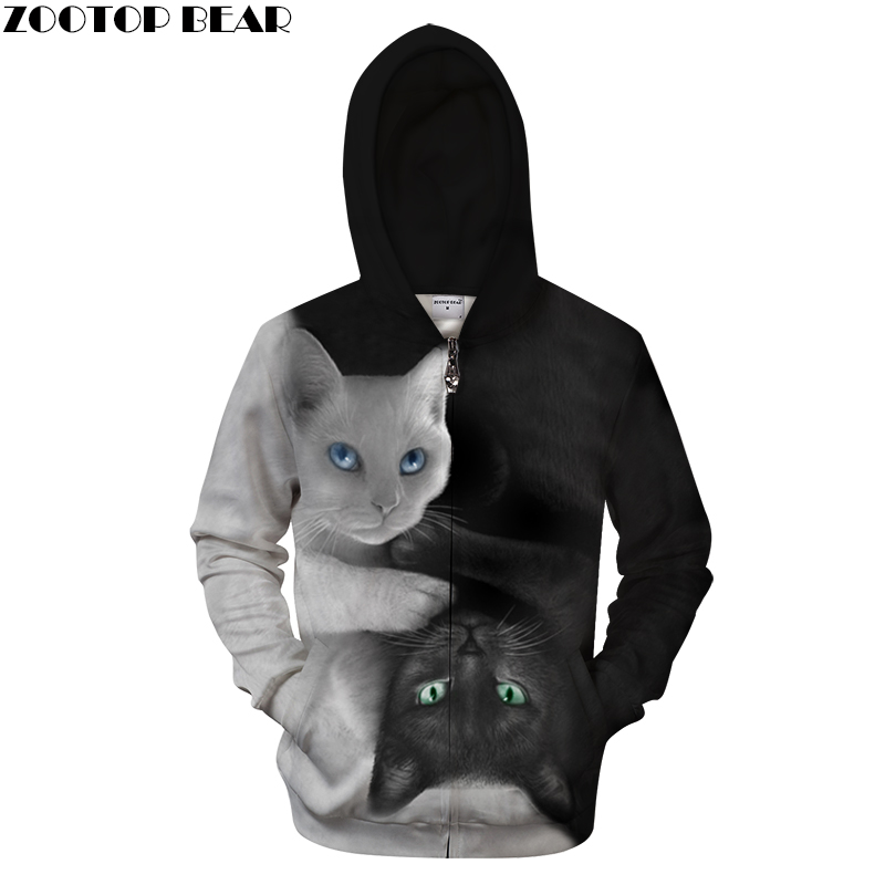 Yin&Yang Cat 3D Zip Hoodies Men Zipper Hoody Casual Sweatshirt Printed Tracksuits Pullover Moletom Coat 2018 DropShip ZOOTOPBEAR