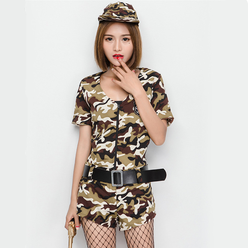 <font><b>Sexy</b></font> Women Halloween <font><b>Army</b></font> Field service Camouflage Costume Female commander <font><b>Cosplay</b></font> Role play Nightclub dance Disco party dress image