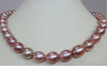 free shipping  150401 J0001 natural12mm Australian south sea pink purple pearl necklace  USPS to ISA RUSSIA