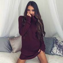 Pinky Is Black Casual turtleneck long knitted sweater dress women Cotton slim bodycon pullover female Autumn winter