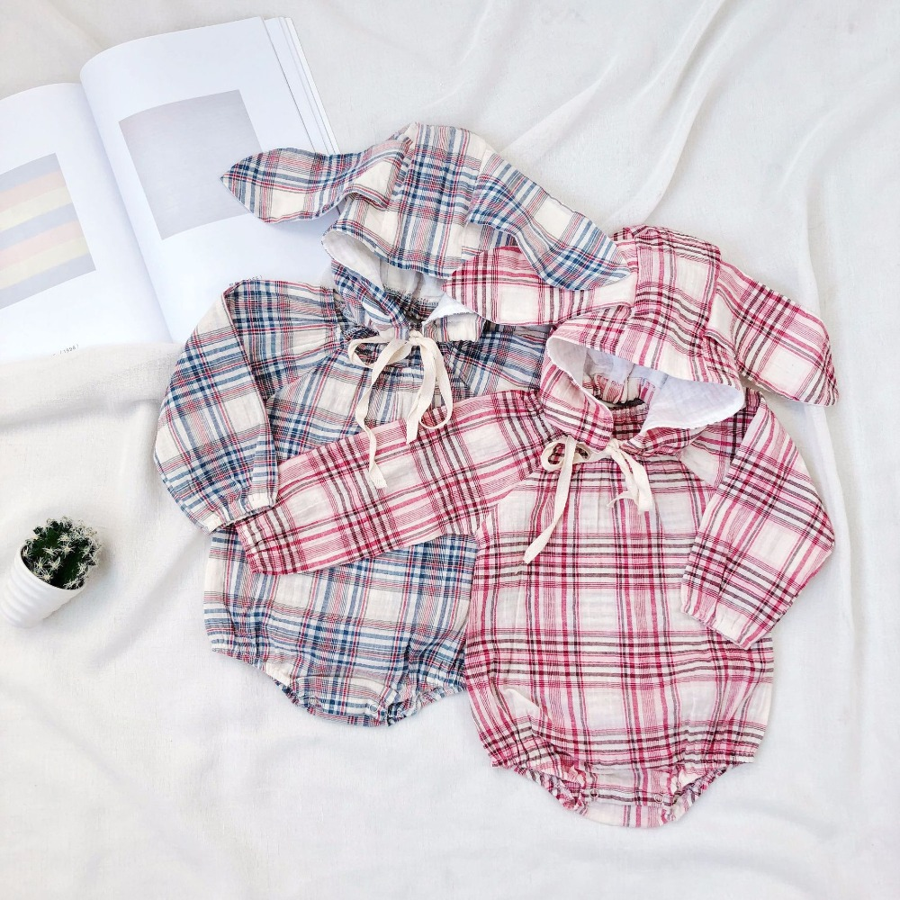 a826a4314 toddler rompers 2018 newborn baby clothes Large plaid pattern cotton ...