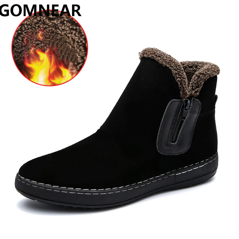 GOMNEAR hiver hommes bottes chauffantes extérieur antidérapant sans lacet Plus fourrure hiver Trekking Sports doux confortable chaussures livraison gratuite