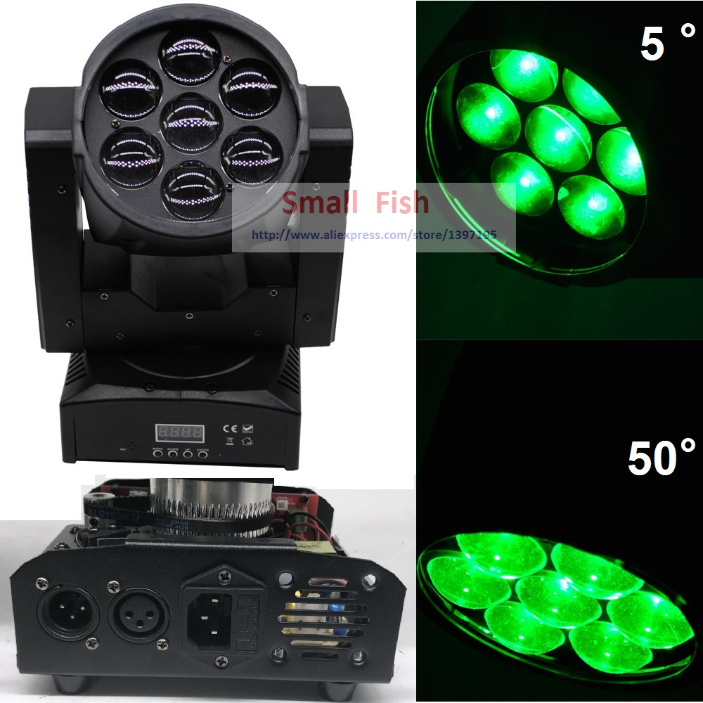 DJ Equipment LED Moving Head Light Beam Zoom 7x15W High Power RGBW 4IN1 Color Mixing 10/14 Channels Laser Dj DMX Disco Light
