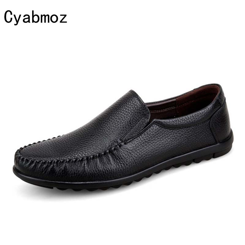 Cyabmoz 2017 Genuine leather Men Loafers Handmade Moccasins Leather Men Flats Slip On Boat Shoe Men's Breathable Oxfords Size 45 cyabmoz brand new breathable vintage crocodile pattern genuine leather moccasins men casual shoes loafers flats slip on zapatos