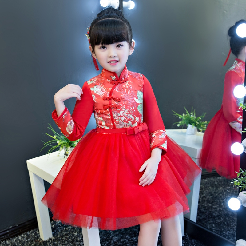 Children Girls Chinese Style Red Color Qipao Cheongsam Flowers Mesh Dress Kids Retro Buttons Birthday New Year Ball Gown Dress the student forum