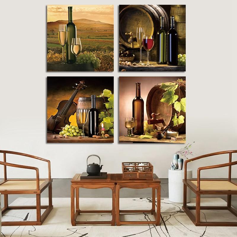 4 stks Europese Stijl Pastorale Zicht Canvas Schilderij Goblet Glas - Huisdecoratie