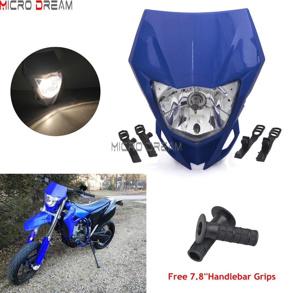 Racing Enduro Headlight Supermoto 35w Halogen Head Light Fairing Mask For Yamaha WR 250/250X/250F/250R/426F/450F Universal Light