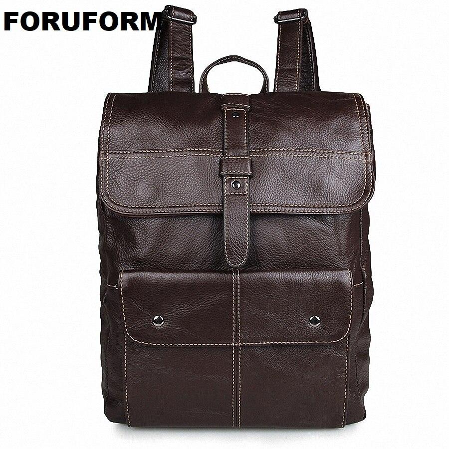 07603e87cea0f 2018 Erkekler Hakiki Deri Sırt Çantası erkek Seyahat Çantası Tiki Tarzı  Erkekler 15.6 Inç Dizüstü Okul Sırt çantası sırt çantası Rahat Çanta LI-1366