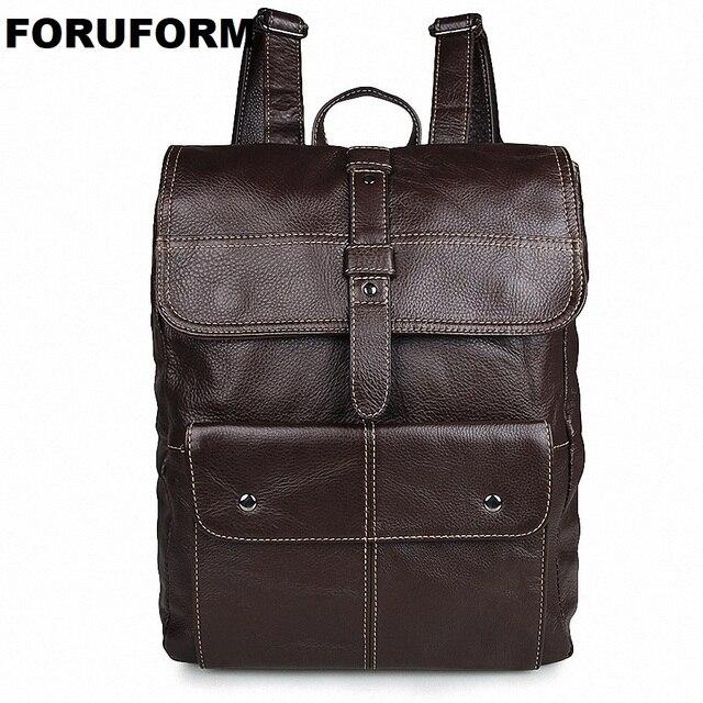 2018 Men Genuine Leather Backpack men's Travel Bag Preppy Style Men 15.6 Inch Laptop School Backpack Casual Rucksack Bag LI-1366