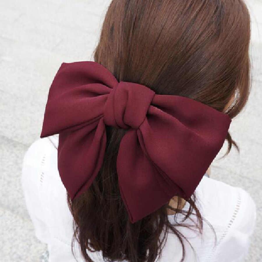 Haimeikang duża kokarda do włosów krawaty spinki do włosów satyna dwuwarstwowy motyl łuk szpilka dziewczyna akcesoria do włosów dla kobiet Bowknot spinki do włosów