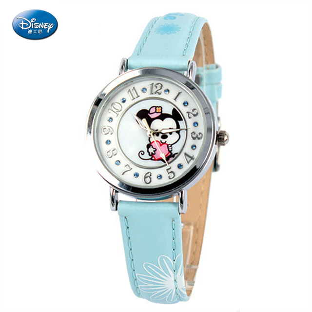 Disney Brand Children's Watches Scale Lovely Mickey Pattern Fashion Leisure Quartz Watch Pu Leather Strap Kids Holiday Gifts