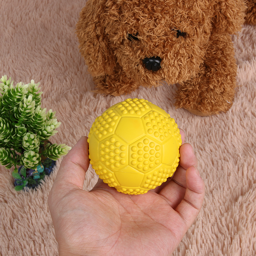 Daily Handcraft Store 1Pcs Rubber Tennis Ball Pet Toy Dog Puppy Squeaky Play Toy Pet Dog Cat Funny Interactive Training Chew Toy Supplies Hot Selling