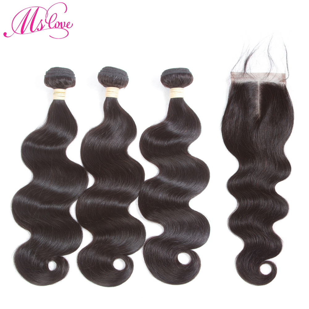 Mslove Body Wave Human Hair Bundles With Closure Brazilian Hair Weave 3 Bundles with Closure Non Remy Hair Extensions