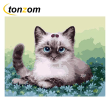 RIHE Cute Cat Drawing By Numbers DIY Animal Painting Handwork Cuadros Decoracion Oil Painting Art Coloring Home Decor 2018 new hot chinese coloring watercolor lovely cat animal painting drawing books for adults