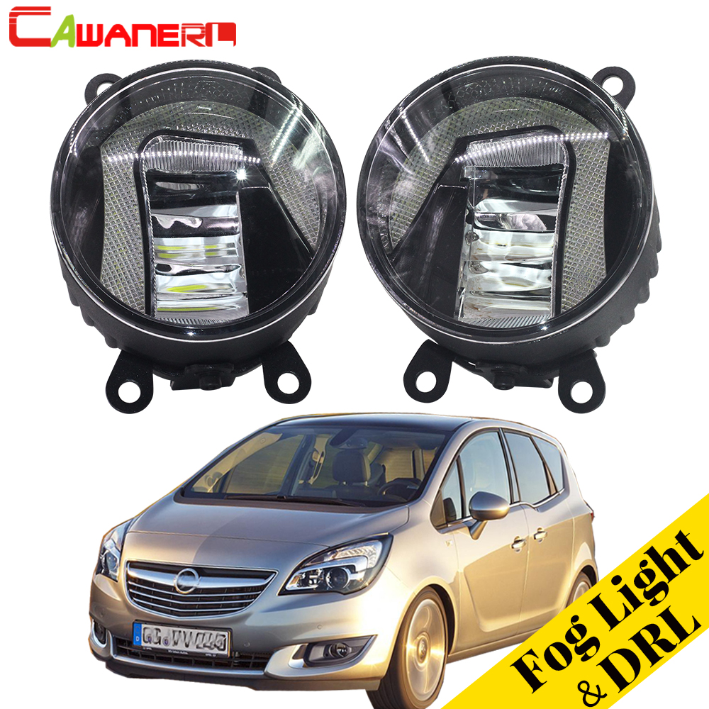 Cawanerl Car Accessories LED Fog Light Daytime Running Lamp DRL White 12V Styling For Opel Meriva A 2006-2010 cawanerl 2 x car led fog light drl daytime running lamp accessories for nissan note e11 mpv 2006