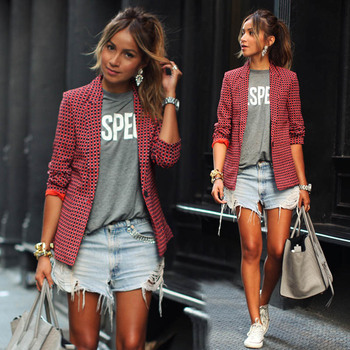trend 2018 sexystyle autumn cute plaid red print cute women blazer single button notched slim sheath female blazer