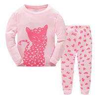 New Arrival Girls Cute Cartoon Cat Pijama Clothes Sets 100 Cotton Long Sleeve Christmas Pajamas For