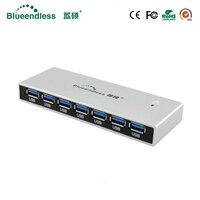 High Quality Powered 7 Ports USB 3 0 Hub Portable USB Hub Usb Splitter Aluminum Case