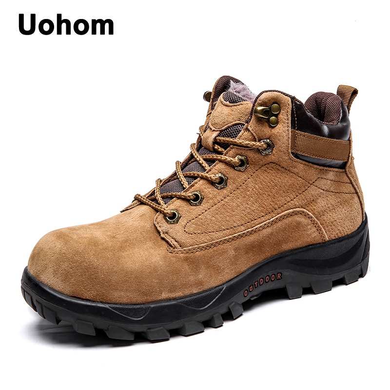 Uohom Fashion Men Genuine Leather Boots High Quality Tactical Waterproof Ankle Snow Boots Warm Fur Plush Lace-Up Winter Shoes motorcycle radiator for honda cbr600rr 2003 2004 2005 2006 aluminum water cooler cooling kit