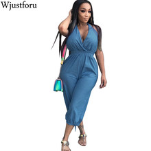 7c5f094cc523 Wjustforu Pure Color Loose Casual Denim Jumpsuit Capri Women Backless  Bandage Elegaht Jumpsuit Romper Bodycon Sexy