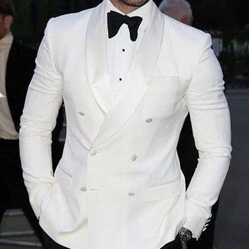 Erkek Kıyafeti'ten T. Elbise'de Beyaz Düğün Erkek Takım Elbise Kruvaze Erkek Sahne Kıyafetleri Slim Fit Damat Smokin 2 Parça Set Ceket Siyah Pantol'da  Grup 1
