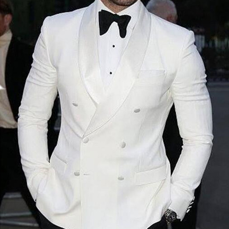 White Slim Fit Man Suits With Double Breasted Mens Stage Clothes For Wedding Groom Tuxedos 2 Piece Set Jacket Black Pants