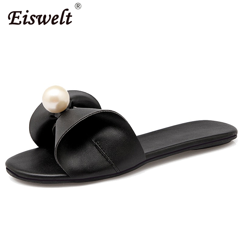 EISWELT New Summer Women Fashion Bling Slippers Shoes Flats Women Flip Flops Beach Sandals Woman Flat#ZQS033 new 1pair summer fashion women knotbow woman sandals shoes beach flat wedge flip flops lady girls slippers free shipping