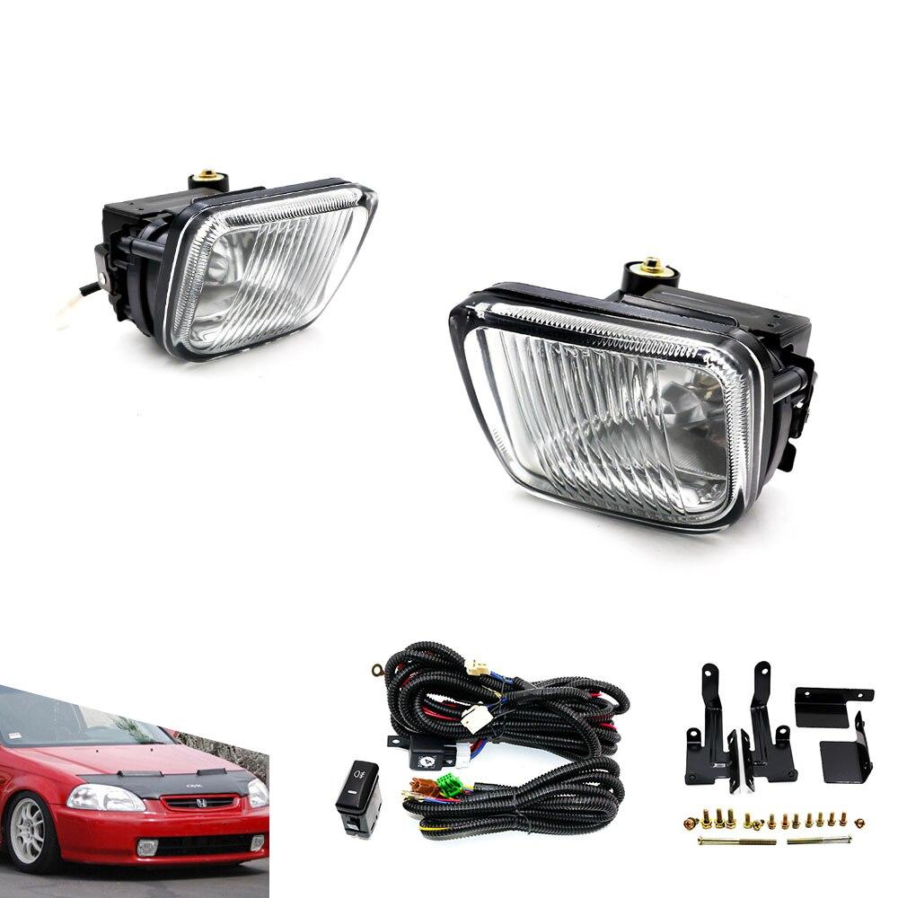 ФОТО Fog light / Fog lamp For HONDA CIVIC 96-98  2/3/4DR YELLOW / Clear FOG LIGHTS DRIVING LAMP+SWITCH  YC100477