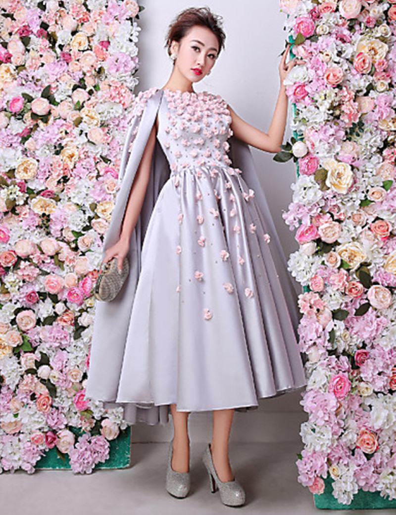 Hand Made Flower Prom Dresses with Shawl 2017 Hot Sale Teal Length ...
