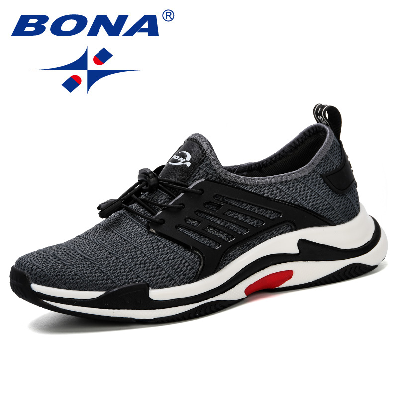 BONA 2019 Spring Autumn Breathable Men Sneakers New Male Shoes High Quality Comfortable Slip On Soft