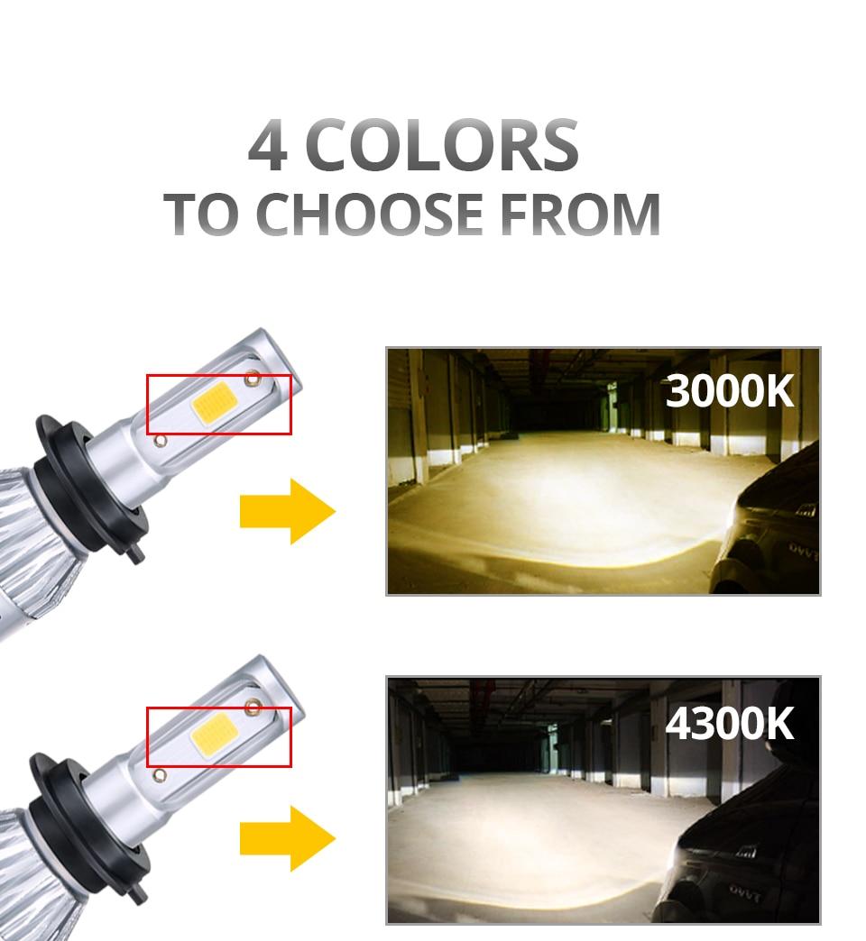 VooVoo 2PCS H4 H7 LED Car Light 72W 8000Lm 9005 9006 H11 4300K 3000K 8000K Car headlights 12V Car Near And Far Lamps Lighting (4)