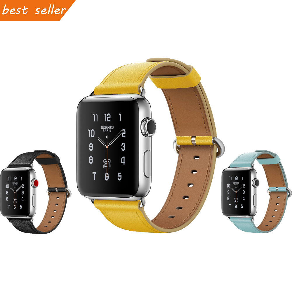 CRESTED soft Genuine Leather strap band for apple watch 3/2/1 iwatch 42mm 38mm wrist bracelet belt with metal buckle metal buckle belt 3 pcs