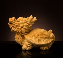 Delicate Lovely Chinese Traditional Handicrafts Boxwood Dragon Turtle Statue