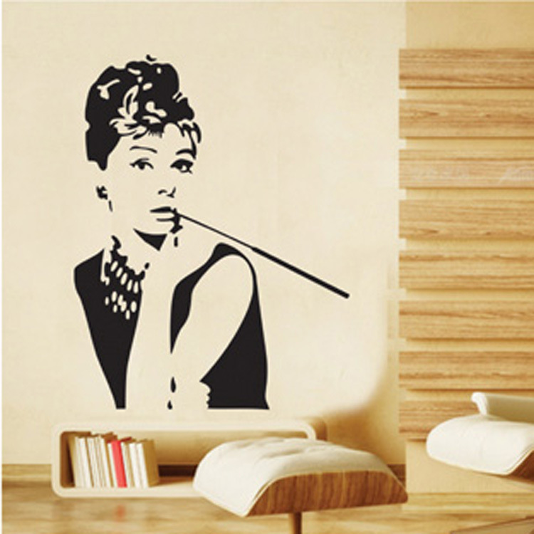 Aliexpress.com : Buy Audrey Hepburn Wall Stickers Beauty Wallpaper Women  Poster Saloon Store Showcase Decals Black Stickers Saloon Decoration From  Reliable ... Part 59