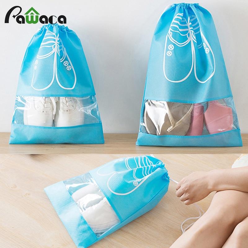10PCS/SET Home Folding Shoes Organization waterproof Non-Woven Men&Girls Travel Portable Tote Drawstring dust Bag Cover Case M L