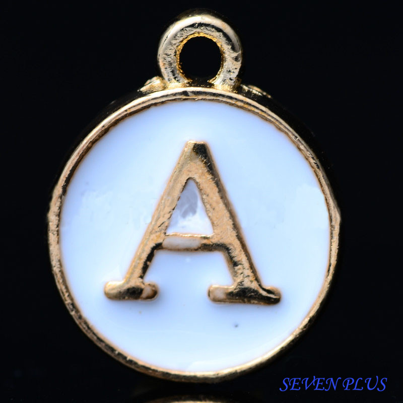 High Quality 10 Pieces/Lot 12mm*14mm Delicate Gold color Double-face White Enamel 26 Letters Alphabet Initial Charms ( T to Z )