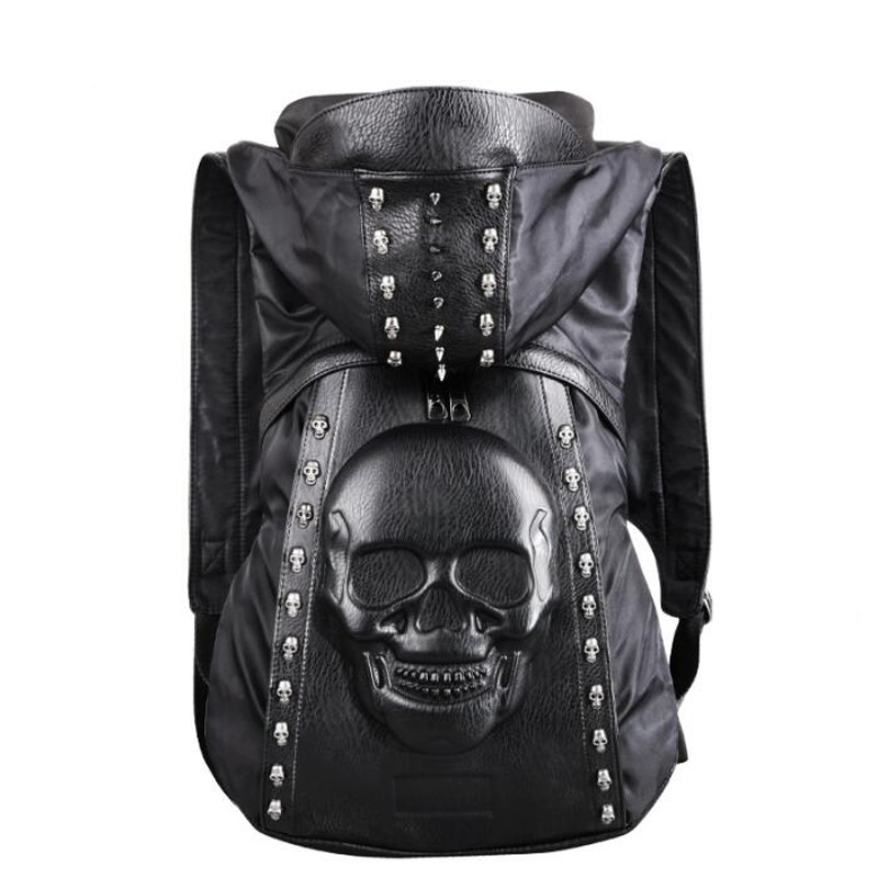 Fashion Personality 3D Skull Leather Backpack Rivets Skull Backpack With Hood Cap Apparel Bag Cross Black Bags Hiphop Man New new 2017 fashion personality 3d skull leather backpack rivets skull backpack with hood cap apparel bag cross bags hiphop man 737