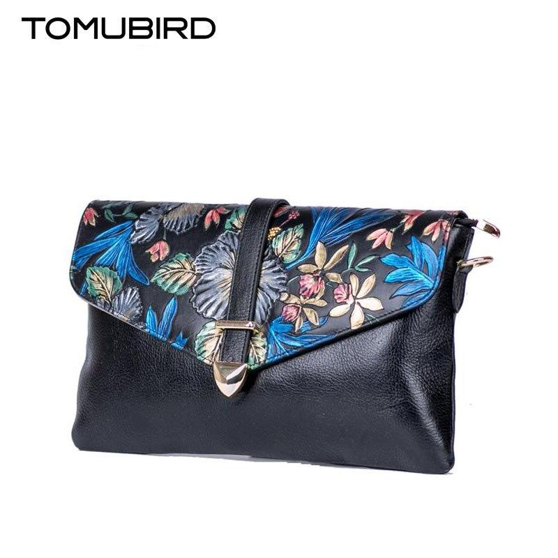 TOMUBIRD new superior leather designer famous brand women bag Rose embossed luxury genuine leather handbags Clutch bag