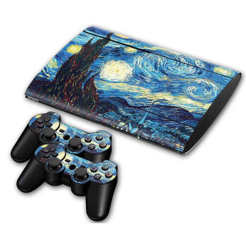 Protector decal for ps3 super slim console games and 2 pcs controller skin sticker