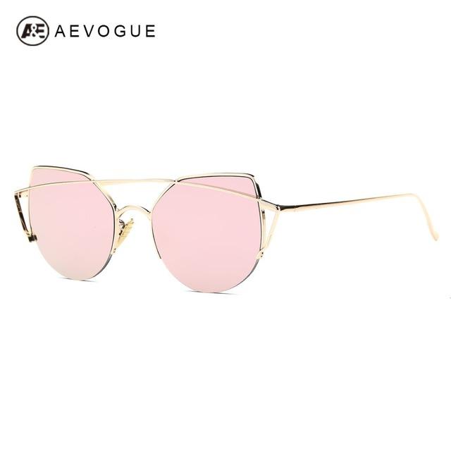 AEVOGUE gafas de Sol Mujeres Del Ojo de Gato de Lujo Diseñador de la Marca Marco De Cobre Venta Caliente Gafas de Sol de La Vendimia Con la Caja UV400 AE0446